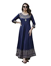 Dream Angel Fashion Women's Printed Traditional Round Neck Flared Kurta