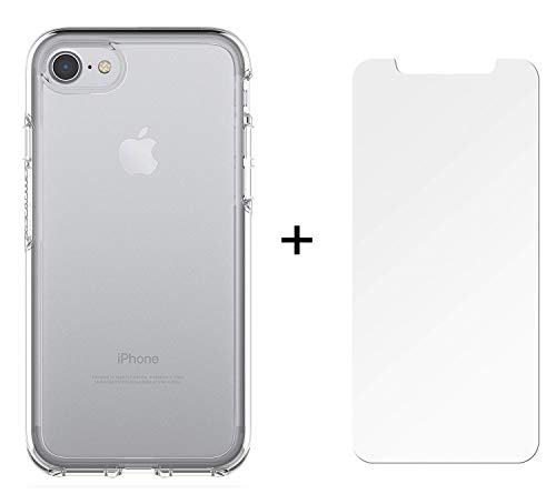 OtterBox Symmetry Clear Series Case for iPhone 8 & iPhone 7 (NOT Plus) with Alpha Glass Screen Protector Bundle - Retail Packaging - Clear