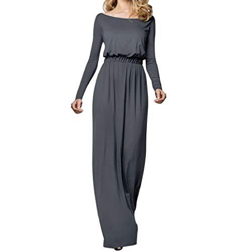 43d4ab1c9ab LONUPAZZ Mode Femme Casual Uni Off-Epaule Maxi Robe Longue Plage Boheme  Grande Taille à Manches Longues  Amazon.fr  Vêtements et accessoires