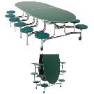 Amtab Mobile Stool Table W/ Elliptical Top - Mse1012 | Cafeteria Tables | Worthington Direct