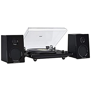 Studebaker SB6088 Hi-Fi Record Player Turntable with at Magnetic Cartridge Home Music System 30 Watt RMS Powered Speakers Bluetooth for External Devices USB Direct Recording Turn Old Records to MP3