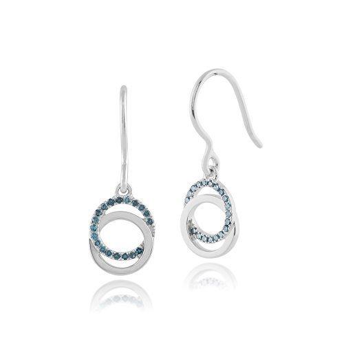 Gemondo Bleu-Diamant-Boucles d'Oreilles Femme-Or blanc 9 carats-Diamant 0,15 carat Poissons Bleu Boucles d'Oreilles Pendantes Crochet