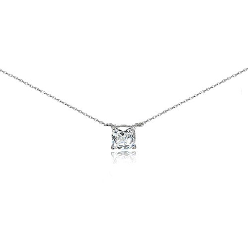 Chain And Studs Necklace - Sterling Silver Cubic Zirconia 6mm Cushion-cut Necklace