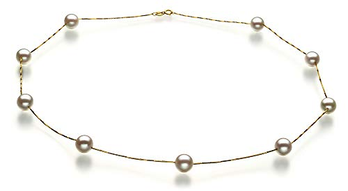 Tin Cup White 7-8mm AAA Quality Japanese Akoya 14K Yellow Gold Cultured Pearl Necklace For Women