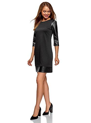 Femme Finition Similicuir avec Ultra oodji en Robe 2900n Noir 5qABBw