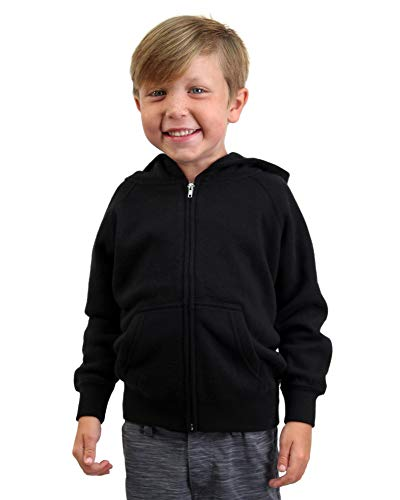 Kids Zip Jacket Full - Global Little Kids Zip Up Lightweight Hooded Youth Sweatshirt Black 5 6 Toddler