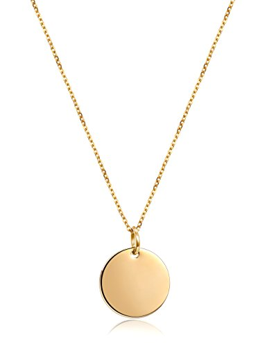 JINBAOYING Initial Necklace Circle Necklace Gold Plated | Minimalist Necklace with Round Disc Pendant Necklaces