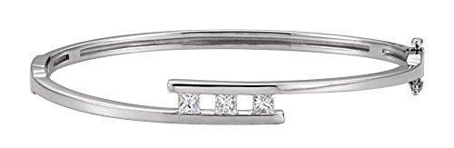 - 14K White Gold 5/8 CTW Diamond Bangle Bracelet