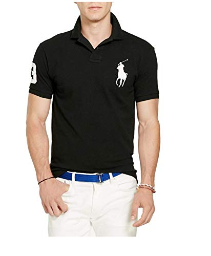Polo Ralph Lauren Men's Big Pony Custom-Fit Black Polo Shirt, Medium (Ralph Lauren Grün Polo)