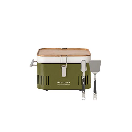 Everdure by Heston Blumenthal Cube Portable Charcoal Grill Carrier Bag, Leather & Velcro Straps, Multiple Storage Compartments, Easy Portability, Black (Khaki + Grilling Accessories)