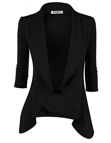 - Doublju Womens Lightweight Classic Draped Open Front Blazer with Plus Size Black Medium