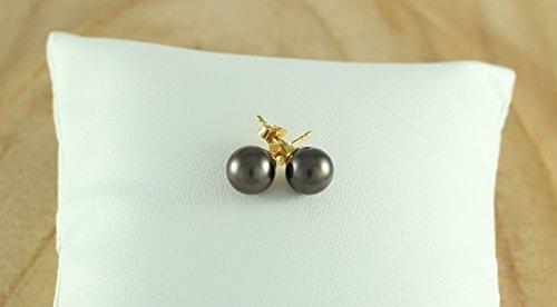 Ocean Black Pearl - Boucles d'oreilles Femme - Perles de culture de Tahiti - 8mm - Or 18 Carats - Bo LB2
