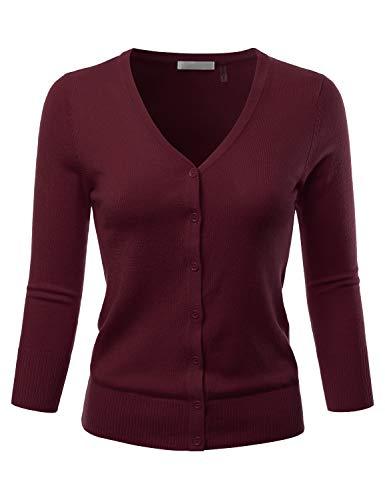 - EIMIN Women's 3/4 Sleeve V-Neck Button Down Stretch Knit Cardigan Sweater Burgundy M
