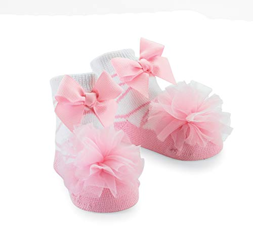 Mud Pie Girls' Baby-Newborn Tulle Puff Socks, Pink, 0-12 Months ()