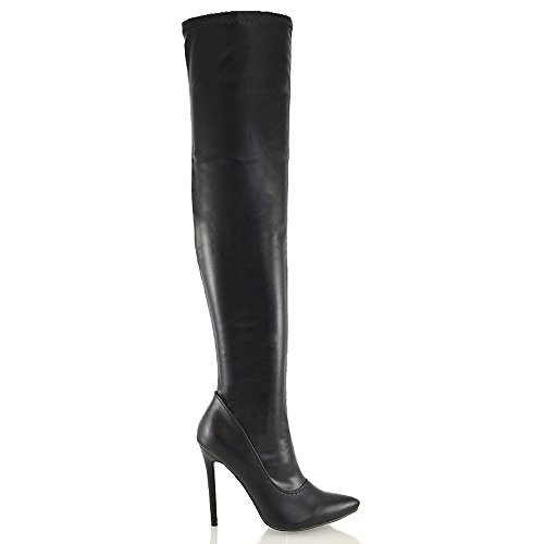 Knee The Synthetic Boots Calf High Leather Womens Heel Size 8 Ladies Over 3 Thigh Stiletto Black Stretch 51Zx4Eqw