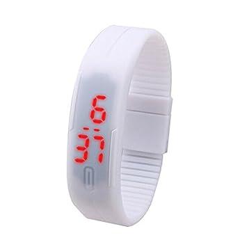Beautyrain 1 PC Pulsera LED con pantalla digital roja LED Hora Fecha Mostrar Reloj Negro/gris/blanco/azul claro/rojo: Amazon.es: Deportes y aire libre