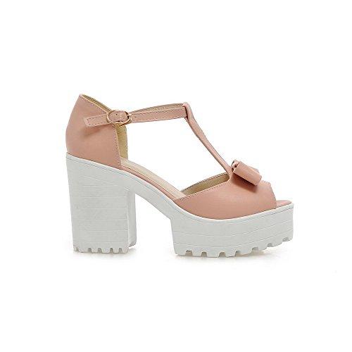 Heels Women's WeenFashion Solid Peep Pu Buckle Toe High Pink Sandals wpwIHqnfv