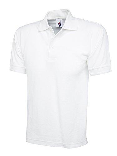 Ultimate 100%  coton-Polo à manches courtes de loisir Tee T-Shirt de sport Uni -  Blanc - Taille XXXL