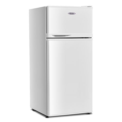 COSTWAY Compact Refrigerator, 2-Door 3.4 cu. ft. Under Counter Fridge, Freezer Cooler Unit for Dorm, Office, Apartment with Adjustable Removable Glass Shelves(White)