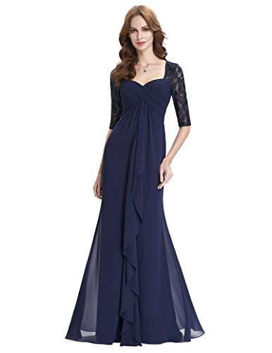 Women's Lace Long Mother of the Bride Dresses With Sleeves Plus Size 16 Navy Blue