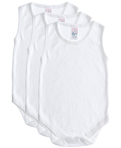 Cotton Baby Undershirt (Baby Jay Soft Cotton Sleeveless Onesie Bodysuit, WSNR 3-6 3-Pack)