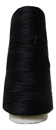 Desi Hawker 275+ Yards - Viscose Rayon Art Silk Thread Yarn - Embroidery Crochet Knitting Lace Jewelry Trim (Black)