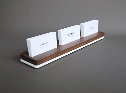 Business Card Stand, Multiple Business Card Display, Multiple Business Card Holder, Multiple Business Card Wooden Display, Walnut Wood and White Acrylic ()