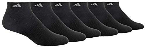 adidas Mens Athletic Cushioned Low Cut Socks (6-Pair), Black/Aluminum 2, Large, (Shoe Size 6-12)