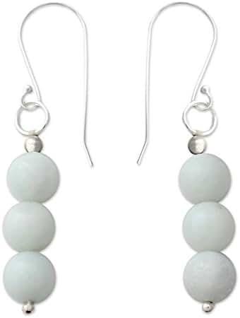 NOVICA Amazonite .925 Sterling Silver Dangle Earrings 'Sheer Delight'