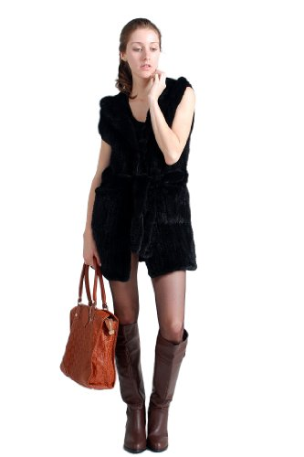 Queenshiny Long Women's Knitted Mink Fur Vest With (Black Mink Fur Coat)