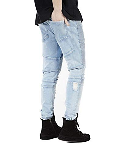 Matita Stretch Jeans Slim Lunghi Dritti Fashion Strappati Stile Mens Pants Casual Denim Distrutti Blau Fit Semplice tIqfYY