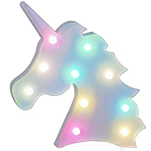 AIZESI Unicorn Marquee Light Night Light Wall Room Decor,Desk Table Lamp,Kids Gift for Birthday Xmas Colorful Unicorn Night Light Led Lamp 10
