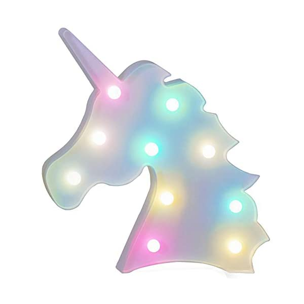 AIZESI Rainbow Colorful Unicorn Light,Unicorn Marquee Signs Unicorn Party Supplies,Unicorn LED Night Light Wall Decoration Room Decor,Desk Table Lamp,Kids Gift for Birthday Xmas(Rainbow Unicorn) 3