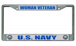 U.S. Navy Woman Veteran Chrome License Plate Frame ()