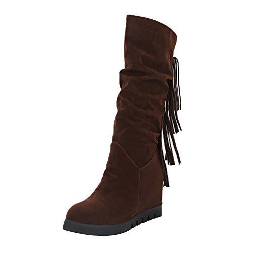 Snow Moda Botas Interno Boots Mujer Zapatos Media Botines Calzado Cuñas De 5 5cm Aumento Luckygirls Flecos Casual Para Zapatillas Marrón Caña xqYZpw55T6