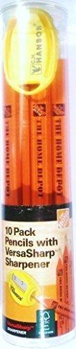 Home Depot Marking Pencil with VersaSharp Sharpener, 10 Pack - 100% Wood FSC C006583 - Made in - Wood Fsc