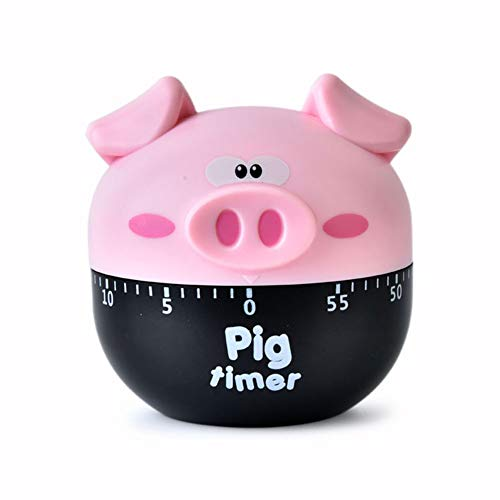 (Cute Cartoon Pig Timers 60 Minutes Mechanical Timers Kitchen Cooking Timer Clock Loud Alarm Counters Manual Timer (Pink) )