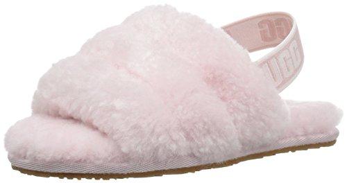 UGG Girls' T Fluff Yeah Slide Sandal, Seashell Pink, 6 M US Toddler