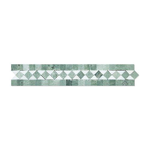 Thassos White Greek Marble BIAS Border / Listello with Ming Green Dots, Polished