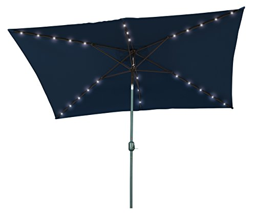 Trademark Innovations Rectangular Solar Powered LED Lighted Patio Umbrella – 10′ x 6.5′ – By (Blue) Review