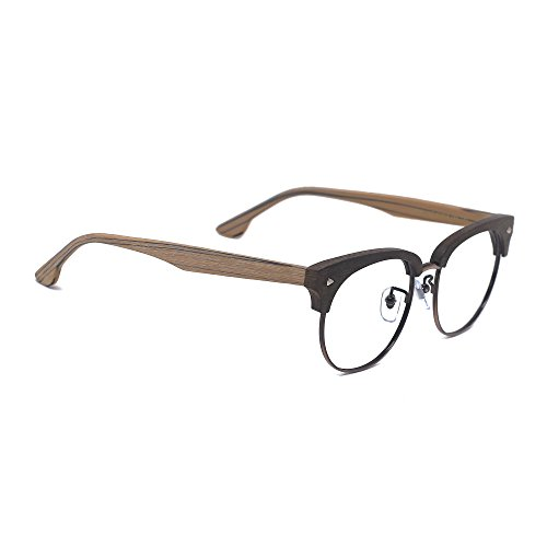 6669793e0e TIJN Woodgrain Clubmaster Eyeglasses Frame Faux Wooden Glasses.  B-Transparent