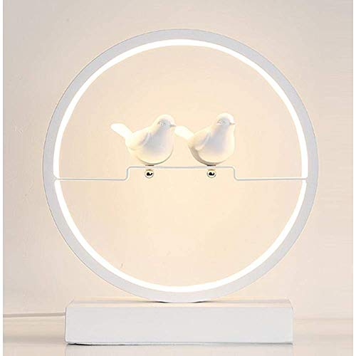 HYH Modern, Nordic, Minimalist, Porcelain Birds LED Desk Lamp, LED Nightlight With Hollowed-Out Design, Iron & Acrylic Made Lamp Body, Dimming Switch For Bedroom, Study, Decoration, Gift, White A beau ()