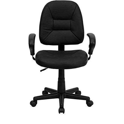 Flash Furniture Mid-Back Black Leather Ergonomic Swivel Task Chair with Adjustable Arms