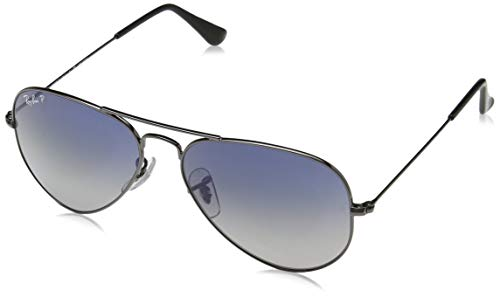 Ray-Ban RB3025 Aviator Polarized Sunglasses, Gunmetal/Polarized Blue Gradient, 55 mm (Ray-ban Rb3025 55 Aviator)