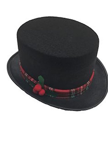 3 Caroler Snowman Black Fabric Top Hat Costume Holiday Hats