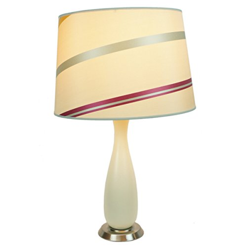 Penelope Table Lamp by Laura Ashley Beige Finish with 14 inch juliette striped drum shade - Includes base, shade, harp and finial - SLB24114BTW204