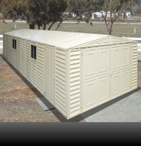 Duramax 01514 Vinyl Garage Shed with Foundation and Window, 10.5 by 28.5-Feet (Usa Shed Vinyl Duramax)