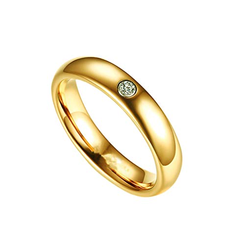 Smooth Ring Retro Minimalist Metal Diamond Wedding Band Engagement Round Ring for Men Women Jewelry (gold, 12) ()