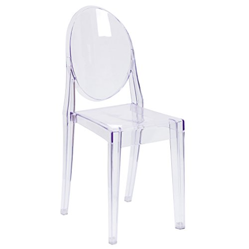 Flash Furniture Ghost Side Chair in Transparent Crystal (Chair Rolling Acrylic)