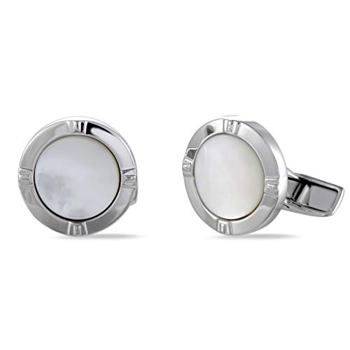 Charriol Celtica Brass Rhodium Plated White Mother of Pearl Round Cufflinks ()